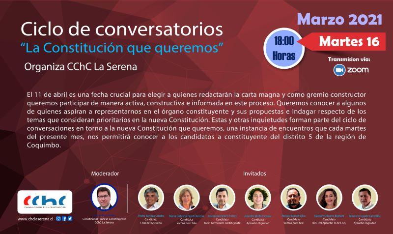 Segundo Conversatorio: Este martes 16 de marzo conoceremos las ideas y propuestas de siete candidatos constituyentes del Distrito 5 noticias
