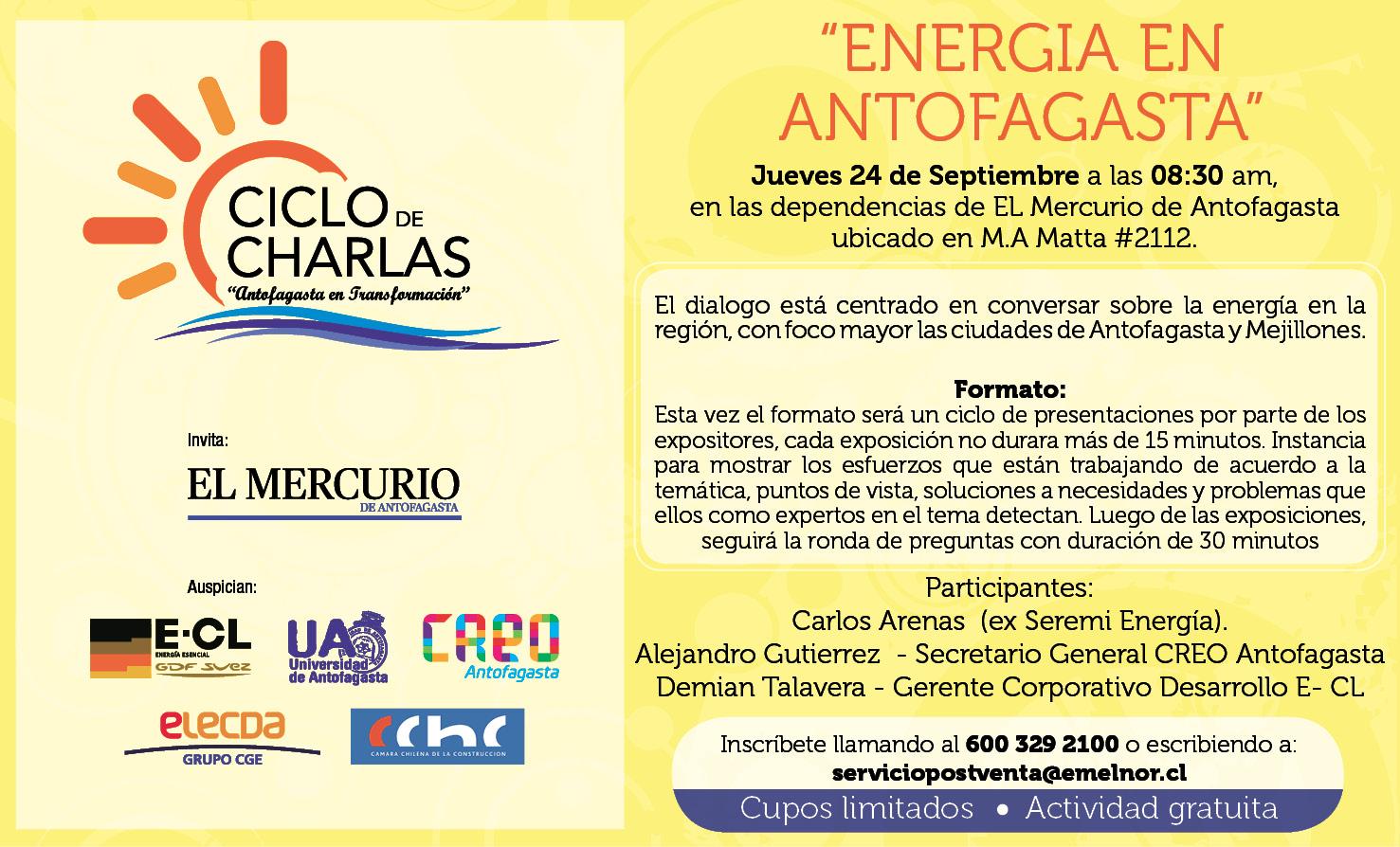 """El próximo jueves se realiza la 3° charla del ciclo """"Antofagasta en Transformación"""" noticias"""