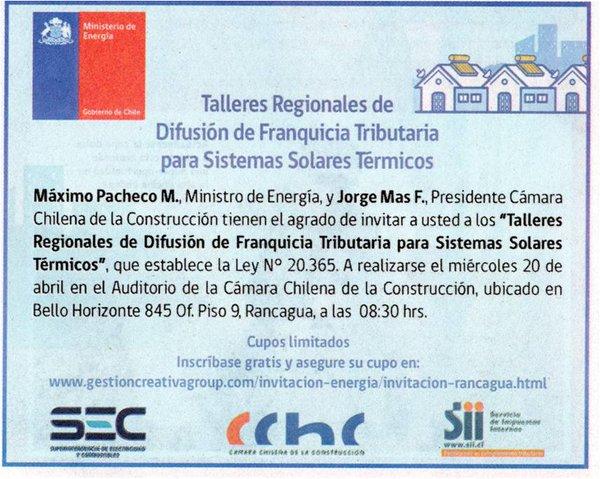 CChC Rancagua y Seremi de Energía realizarán taller sobre beneficios tributarios de paneles solares noticias