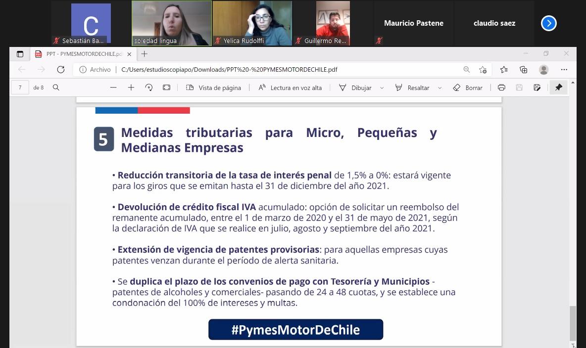 Seremi de Hacienda presentó medidas de apoyo a pymes a socios de la CChC Copiapó noticias