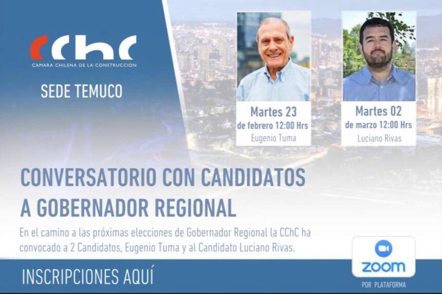 Candidatos a Gobernador Regional presentan sus propuestas en conversatorio CChC noticias
