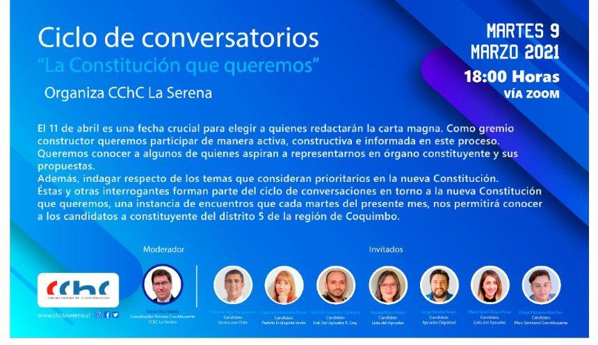 Este martes se inicia ciclo de conversatorios con candidatos constituyentes del Distrito 5 región de Coquimbo noticias